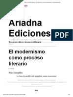 El Modernismo Como Proceso Literario