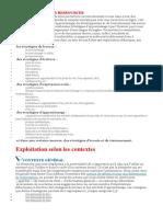 EXPLOITATIONS PAR RESSOURCES et contextes