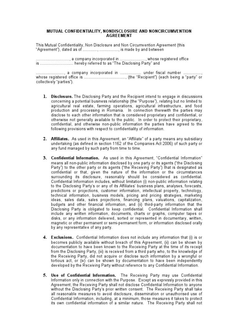 Generic Ncnda Uk Confidentiality Intellectual Property