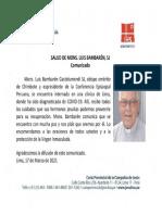 Monseñor Bambarén fue internado en una clínica local por covid-19
