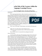 Nunan (1994) Enhancing the role of the learner within the learning process