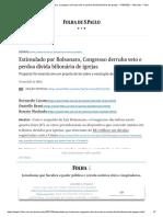 Estimulado por Bolsonaro, Congresso derruba veto e perdoa dívida bilionária de igrejas - 17_03_2021 - Mercado - Folha