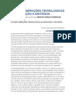 AS CINCO GERAÇÕES TECNOLOGICAS NA EDUCAÇÃO A DISTÂNCIA