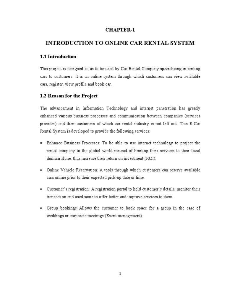 Synopsis Of Online Car Rental System