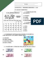 AVALIAÇÃO DE MATEMÁTICA – PRIMEIRO BIMESTRE -1º ANO (2011)