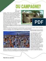 la ville et la campagne avantages et dezavantages