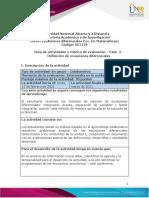 Guía de actividades y rúbrica de evaluación - Unidad 1 - Fase 2 - Definición de ecuaciones diferenciales.