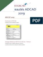 Nouveautes ADCAD 2019