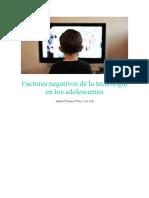 Factores negativos de la tecnología en los adolescentes