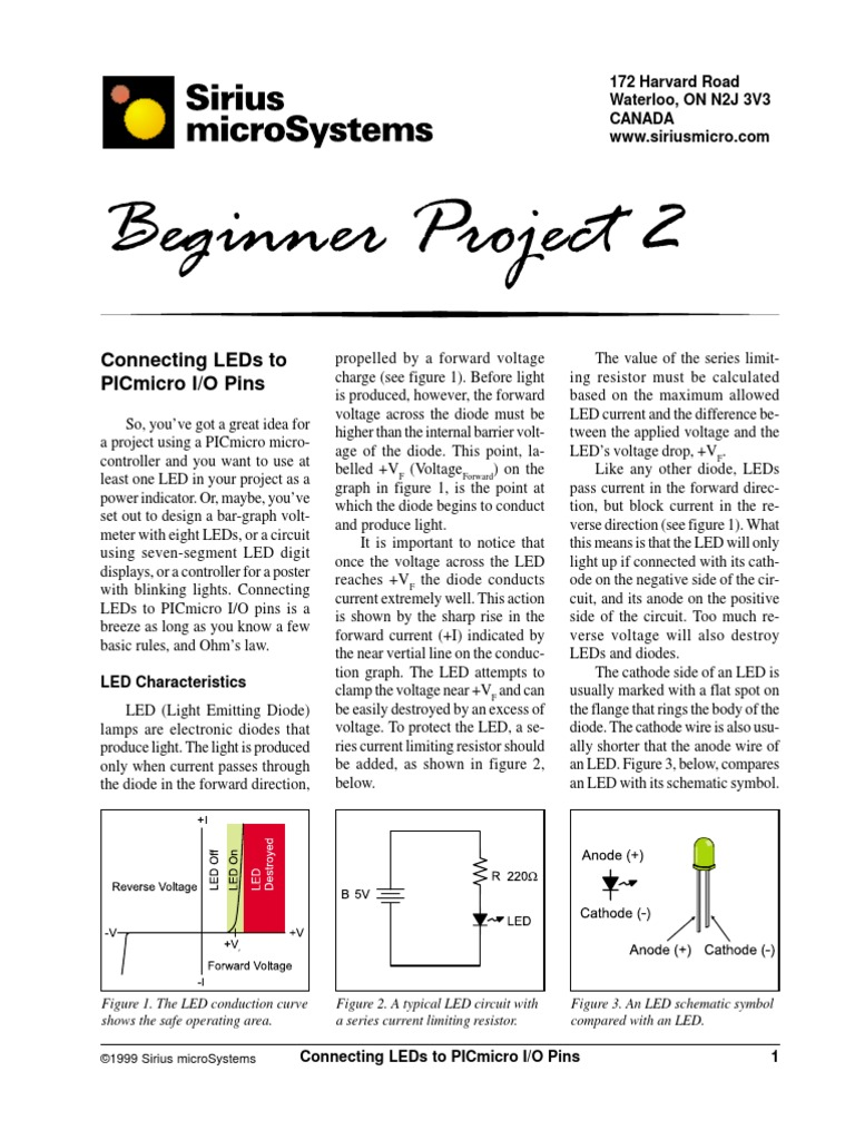 Pic Microcontroller Basic Project Light Emitting Diode Resistor Led Circuit Symbol