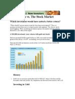 Gold Return vs Equty market