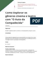 Como Explorar Os Generos Cinema e Teatro Com o Auto Da Compadecidapdf