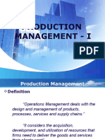 Production Management - I