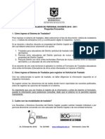 PREGUNTAS FRECUENTES PROCESO DE TRASLADOS 2010-2011