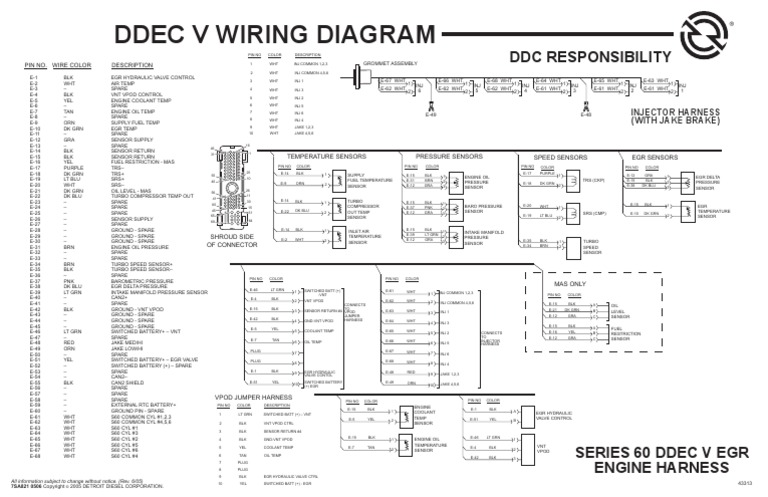 ddec ii wiring diagram diagrama de motor  detroit turbocharger vehicle parts  vehicle parts
