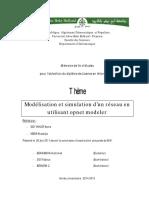 Modelisation Et Simulation Dun Reseau en Utilisant Opnet Modeler