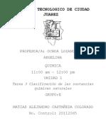 Clasificación de las sustancias químicas naturales