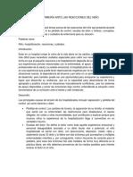 CUIDADOS DE ENFERMERÍA ANTE LAS REACCIONES DEL NIÑO
