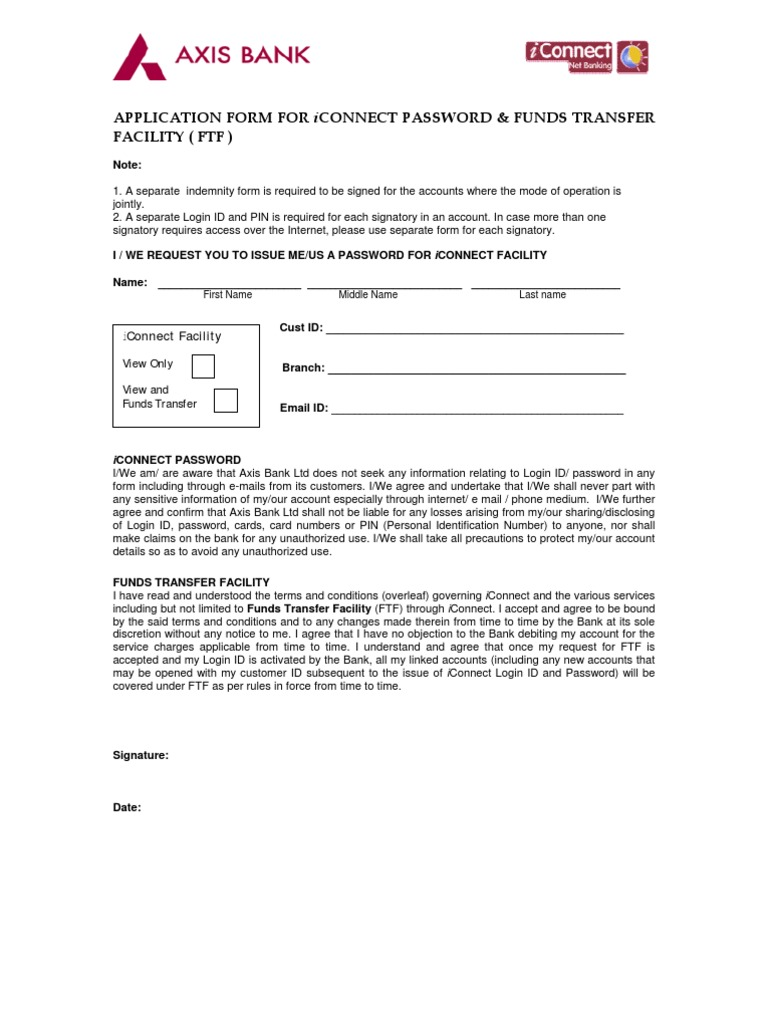 axis bank corporate iconnect form