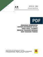 026 Pedoman Penerapan Sistem Distribusi 20 KV Fasa 3, 3 Kawat Dan Tahanan Rendah Dan Tinggi