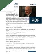 CNBC Warren Buffett Transcript, March 2, 2011