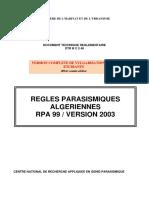 Regles Parasismiques Algeriennes Rpa99 Version 2003