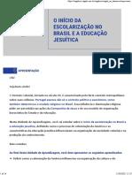 AUla 05 - O Início Da Escolarização No Brasil e a Educação Jesuítica