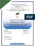 mémoire  les procédures de dédouanement douane fret Alger aéroport final fatma