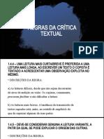 REGRAS DA CRÍTICA TEXTUAL