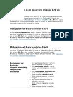 Qué Impuestos Debe Pagar Una Empresa SAS en Colombia