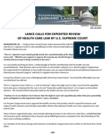 LANCE CALLS FOR EXPEDITED REVIEW  OF HEALTH CARE LAW BY U.S. SUPREME COURT