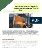 Cuáles son las causas para que suene la alarma del regulador de temperatura Thermo King