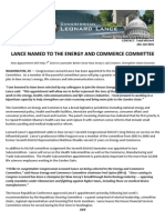 LANCE NAMED TO THE ENERGY AND COMMERCE COMMITTEE -- Jan13