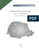 MPPR. Competência da Justiça Militare Lei n° 13.491-2017 - Breves apontamentos (2019)