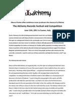 Mauro Picotto Alchemy Festival PRESS RELEASE