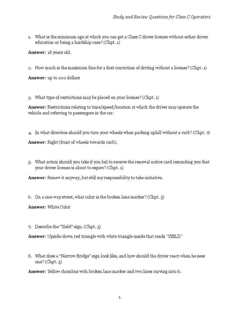 study and review questions for class c operators answer driving