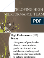 DEVELOPING HIGH -PERFORMANCE TEAMS