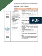 CALENDÁRIO TESTES (FEVEREIRO) - INSTRUÇÕES 5ºA