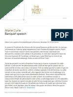 Marie Curie - Banquet Speech