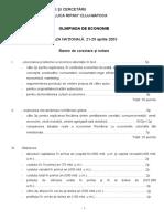 2003_Economie_Nationala_Bareme_Clasa a XI-a