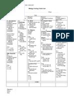 Biology Scoring Checklist Form