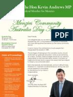 Menzies Australia Day Awards 2011 Ceremony Programme
