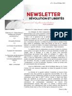 Newsletter n°3 de Révolution et Libertés