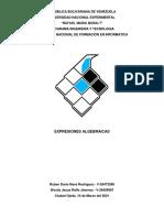 Unidad II, Actividad 1 - Expresiones Algebraicas (Ruben Nava-Westly Raffe)