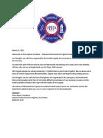 Oshawa Fire Fighters Statement March, 22 2021