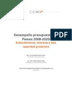 Desempeño presupuestal de Pemex 2008-2020