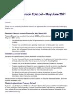 Update on Pearson Edexcel May-june 2021 Exam Series