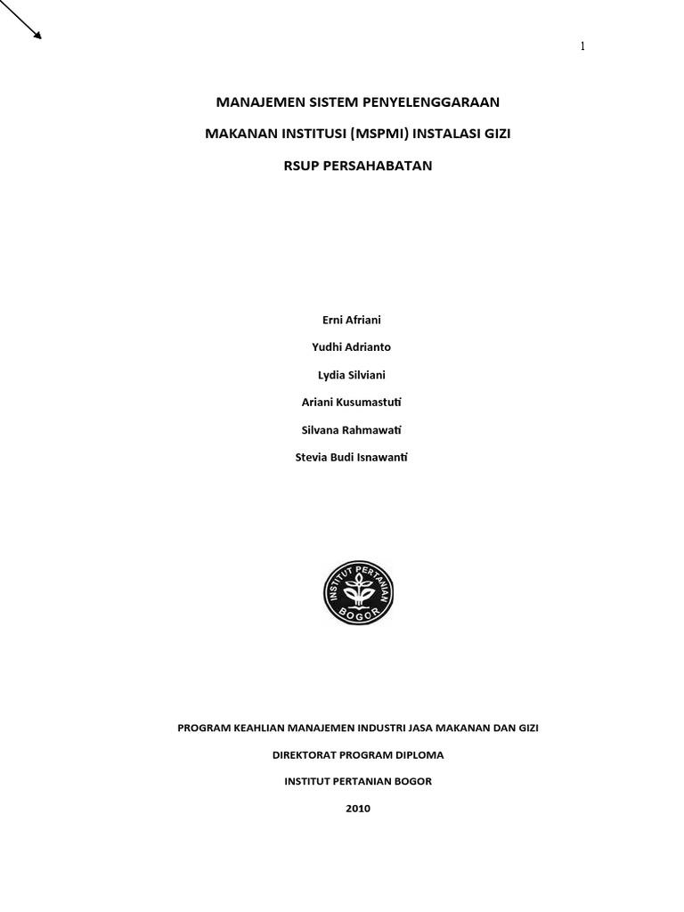 Manajemen Sistem Penyelenggaraan Makanan Institusi MSPMI RSUP
