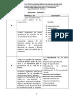 Aprendizajes Periodo i y II Biologia y Quimica Grados 6ª y 8ª