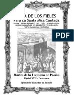 Martes de la I Semana de Pasión. Guía de los fieles para la santa misa cantada.  Kyrial XVII